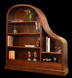 Baby Grand Piano Bookcases In Cherry Honduras Crotch Mahogany Linen White Lacquer Black