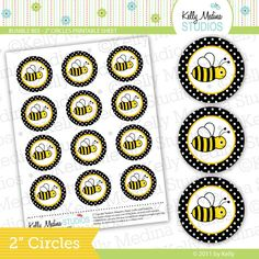 Bumble Bee - Black - 2 inch Circle Digital Collage Sheet - Commercial use for Cupcake Toppers, Magnets, Paper Crafts and Products. $2.99, via Etsy.
