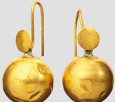 Pair of gold earrings with ball pendants, Roman, 1st - 2 Century.