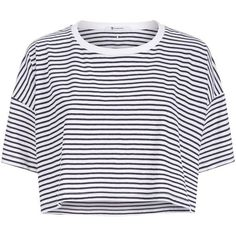 T by Alexander Wang Striped Drop Shoulder T-Shirt (3.120 ARS) ❤ liked on Polyvore featuring tops, shirts, crop tops, loose fit crop top, stripe shirt, loose shirt, loose tops and loose crop tops