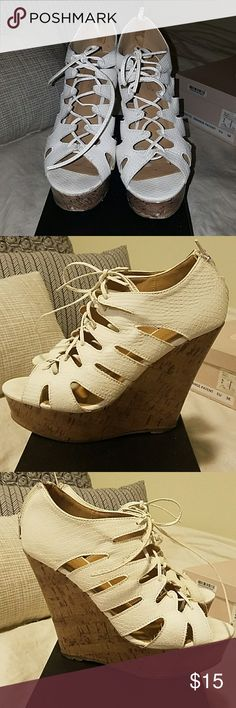 White lace up wedges Size 8 Perfect for summer and every outfit! Cleaning out my closet. Some wear, please refer to pictures. Shoe Dazzle Shoes Wedges