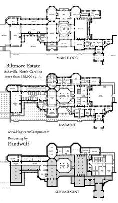 Biltmore Estate Mansion Floor Plan - lower 3 floors. We have the other three floors separately