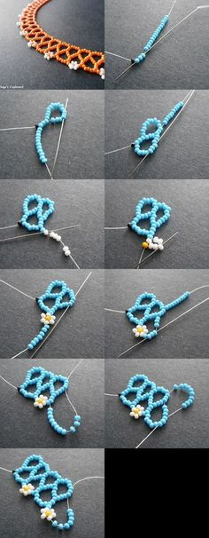 "classic daisy chain ""Chevron chain is a surprisingly versatile stitch, considering how simple and delicate that it can be. Daisy Chain, Seed Bead Jewelry, Bead Jewellery, Beading Tutorials, Beading Patterns, Jewelry Crafts, Handmade Jewelry, Motifs Perler, Beaded Necklace Patterns"