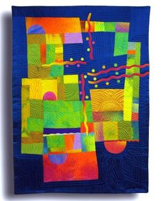 Dusk Til Dawn  Hand Dyed and commericial silks, fused, machine quilted Melody Johnson Art Quilt