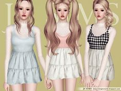 Lace top accessory plus sleeveless dress by JS Sims 3  - Sims 3 Downloads CC Caboodle