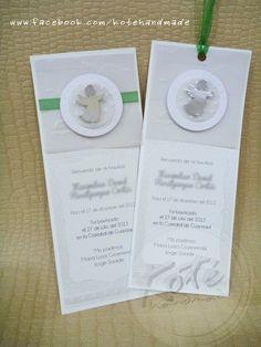 Tarjetas para recuerdo de bautizo niño  Koté Handmade by Silvia Alvarez