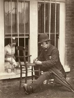 """Caney the Clown"" chair caner - London, England, 1877 (John Thomson)"
