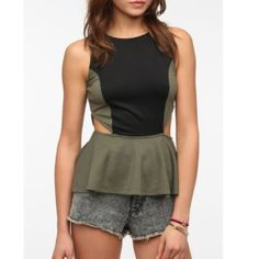 Cutout Peplum Top Only worn twice. Super cute! Sparkle & Fade from Urban Outfitters Sparkle & Fade Tops Tank Tops