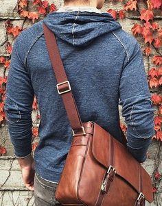 Men's messenger bag from Nordstrom. Perfect leather bag for men traveling for business.
