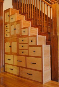 Tansu step chest made with cherry and maple by Monica Raymond