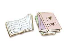 I love books collar clips / enamel lapel pin set by sweetandlovely on Etsy https://www.etsy.com/listing/266463505/i-love-books-collar-clips-enamel-lapel