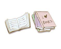 I love books collar clips / enamel lapel pin set by sweetandlovely on Etsy https://www.etsy.com/listing/266463505/i-love-books-collar-clips-enamel-lapel