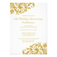 50 anniversary invitations | 50th Wedding Anniversary Gold Swirl Flourish Personalized Invitation ...