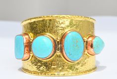 Turquoise  Cocktail Bangle, Gemstone bangle, Recycled brass,  . Hand made bangle, natural stone. by ByPearlWithLove on Etsy