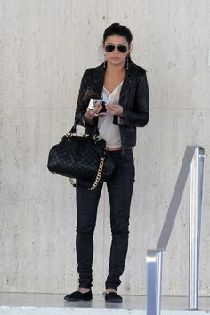 Jessica Szohr cute outfit & sunglasses|| leather jacket
