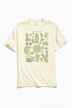 Cacti And Succulents Chart Tee Cactus Shirt, Basic Tees, Custom Tees, Cacti And Succulents, Urban Outfitters, Graphic Tees, Cool Outfits, Shirt Designs, Cartoons