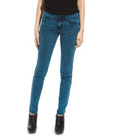Blue Overdye Acid Wash Skinny Jeans