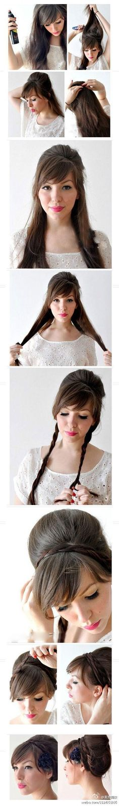 Nice little Up do with a bump and braid
