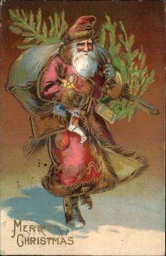 Christmas – Old World Santa Claus Carries Tree Toys in Arms Long Red Robe PC