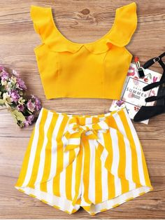 Summer Striped Flat Zipper High Short Scoop Regular Fashion Casual and Going Ruffle Striped Shorts Two Piece Set Trendy Outfits, Trendy Fashion, Summer Outfits, Cute Outfits, Fashion Outfits, Womens Fashion, Fashion Trends, Trendy Style, Summer Dresses