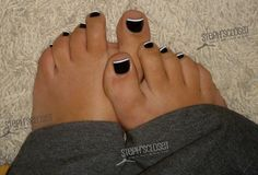 french pedicure black tips - Google Search