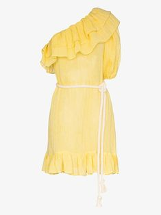 Shop Lisa Marie Fernandez Arden ruffled one-shoulder mini dress Lisa Marie Fernandez, Brown Fashion, Yellow Dress, Size Clothing, One Shoulder, Shoulder Dress, Your Style, At Least, Women Wear