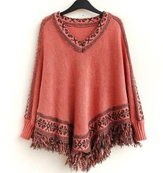 Boho Ethnic Womens Capes and Ponchoes V Neck Knitting Pattern Cloaks Loose Batwing Sweater Plus Size Pullover Fringe Sweaters