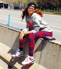 Rihanna Instagram Air Jordans Outfit. Not gonna lie, she looks like she's taking a dump