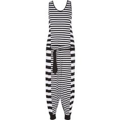 Y-3 + adidas Originals striped stretch-cotton jumpsuit (554480 PYG) ❤ liked on Polyvore featuring jumpsuits, black and white jumpsuit, drawstring waist jumpsuit, black white jumpsuit, white and black jumpsuit and tie waist jumpsuit