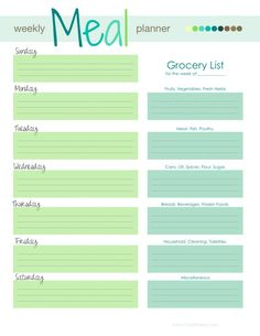ChefEvelyn.com Weekly Meal Planner 2013