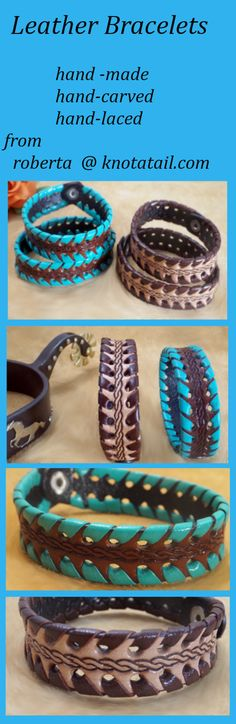 leather bracelet, western bracelet, carved bracelet, knotatail.com