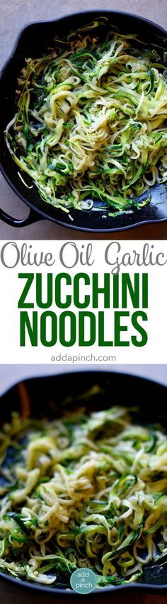 Olive Oil Garlic Zucchini Noodles Recipe - These Olive Oil Garlic Zucchini Noodles are fast and fabulous for a quick and easy way to incorporate more vegetables into your meals! Made with just a handful of ingredients and ready in minutes! Zucchini Noodle Recipes, Pasta Recipes, Diet Recipes, Vegetarian Recipes, Cooking Recipes, Healthy Recipes, Recipe Zucchini, Zucchini Spirals Recipes, Freezer Recipes
