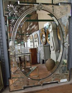 19th Century Venetian glass mirror.