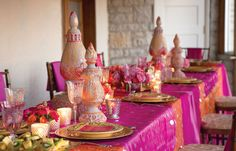 Stunning table for Bollywood-themed girls party