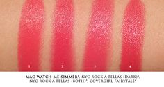 Mac Watch Me Simmer lipstick dupes:  Covergirl Lip Perfection lipstick in Fairytale; NYC City Duet lipstick in The Rock A Fellas