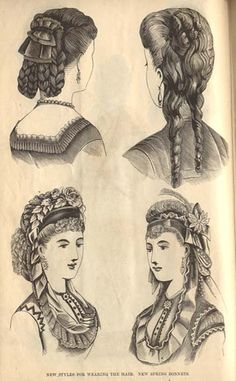 """""""new styles for wearing the hair; new spring bonnets"""" - March 1870 issue of Peterson's Magazine. via Festive Attyre; click """"Index"""" for further information and more images."""