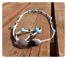 Here's a lovely knotted necklace and bracelet set. Lovely color combination and contrast. Perfect fresh, clean look for spring, country, or beach. Knotted Necklace Bracelet Set-Blue and Black by FreshDewDrops