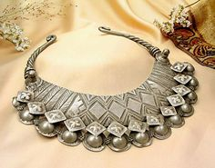 Collector's Item - Intricately Designed Old Indian Tribal Bib Necklace, Torque from JeGem.com