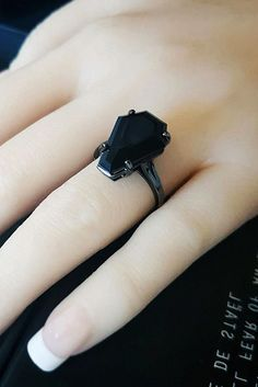 Hot or Not: 33 Halloween Wedding Ideas For Daring Couples Awesome Halloween Wedding Ideas For Couples Who Love Halloween ❤️ halloween wedding ideas black gold engagement rings black gemstone solitaire unique modern simple ❤️ See more: www. Black Gold Engagement Rings, Black Wedding Rings, Black Rings, Gothic Wedding Rings, Black Weddings, Gothic Engagement Ring, Black Gold Jewelry, Solitaire Engagement, Wedding Engagement