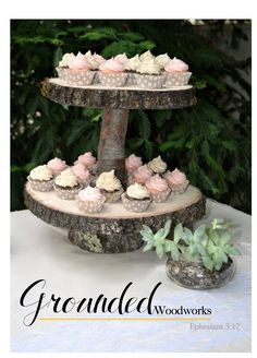 Rustic Wood 2-Tier Cupcake Stand  Solid Oak - 2 Tree Slices, Wedding -  Party - Event, Parties - Table Centerpieces, Decor - Decoration by GroundedWoodWorks on Etsy
