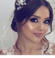Glamorous tulle sheer scoop neckline ball gown wedding dress with lace appl Bridal Hair And Makeup, Bride Makeup, Wedding Hair And Makeup, Short Bridal Hair, Eye Makeup, Hair Makeup, Make Up Braut, Quinceanera Hairstyles, Braut Make-up