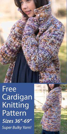 Free Chunky Knitting Patterns, Ladies Cardigan Knitting Patterns, Knit Cardigan Pattern, Sweater Patterns, Knitted Jackets Women, Knitting Yarn, Super Bulky Yarn, Chunky Wool, Cowls