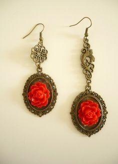 A vendre sur #vintedfrance ! http://www.vinted.fr/accessoires/boucles-doreilles/21808542-boucles-doreilles-vintage-red-rose