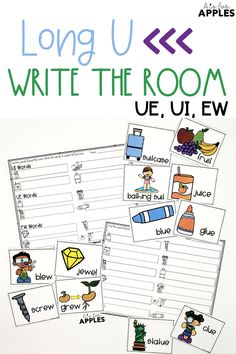 A write the room activity to practice reading and writing words with the long U sound. UE, UI, and EW words.