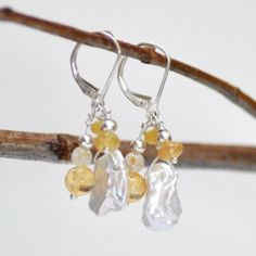 Checkout this amazing product Pearl Petals Earrings, Yellow. $43.00, via Etsy. at Shopintoit