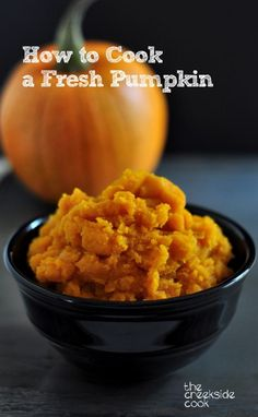 Cook a pumpkin to use for pies, muffins, cakes and cookies - it is easy! How to Cook a Fresh Pumpkin