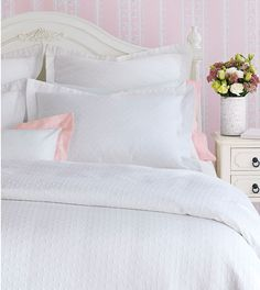 Celerie Kemble by Eastern Accents - Sweetness Matelasse Collection Bright white with a fun polka dot pattern, this skillfully crafted matelassé in cotton is both playful and polished. Collection includes bed skirts, coverlets, and bed pillows and shams. French Provincial Home, Bed Linen Design, Eastern Accents, Luxury Bedding Collections, Bedding Sets Online, Childrens Beds, Linen Bedding, Bed Linens, Bed Sets