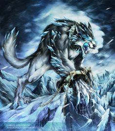 Fenrir - A monstrous wolf of Norse Mythology. Fantasy Wolf, Fantasy Beasts, Dark Fantasy Art, Fantasy Books, Mythical Creatures Art, Mythological Creatures, Magical Creatures, Monster Art, Fantasy Monster