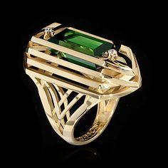 Yellow gold, Green tourmaline  12,81 ct., Diamonds Item no: R0283-0/1