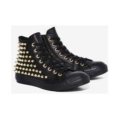 Converse All Star Studded Leather Sneaker ($100) ❤ liked on Polyvore featuring shoes, sneakers, black, leather high tops, high top sneakers, platform shoes, converse high tops and black leather shoes